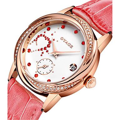 Kadın's Moda Saat İsviçre Quartz Deri Bant Günlük Beyaz Kırmızı Pembe