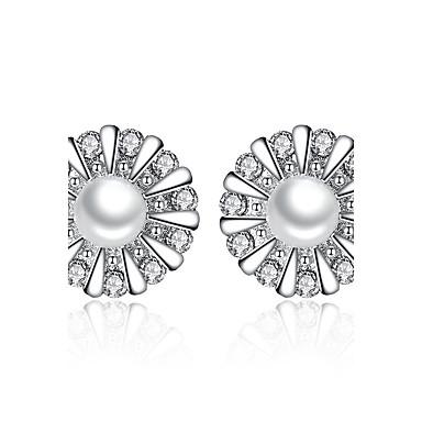 Kadın's Vidali Küpeler Kübik Zirconia Çiçek Som Gümüş İmitasyon İnci Mücevher Düğün Parti Günlük Kostüm takısı