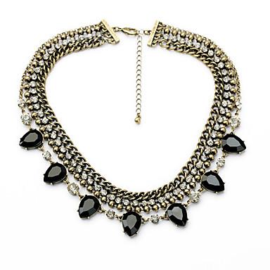 Kadın's Tellerinin Kolye Damla Kişiselleştirilmiş lüks mücevher Siyah Koyu Mavi Mücevher Için Düğün 1pc