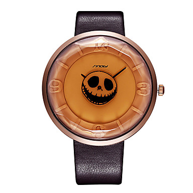 SINOBI Dames Modieus horloge Unieke creatieve horloge Japans Kwarts Waterbestendig Stootvast PU Band Informeel Schedel Cool Zwart Bruin