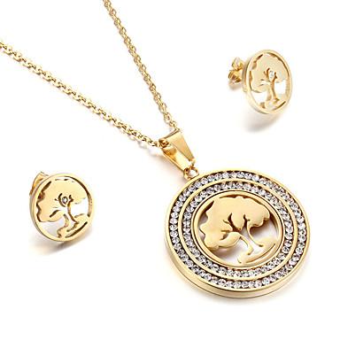 للمرأة مجموعة مجوهرات كلاسيكي أحجار الراين الصداقة موضة euramerican في الولايات المتحدة الأمريكية بريطاني الفولاذ المقاوم للصدأ شجرة
