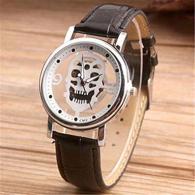 Недорогие Часы на кожаном ремешке-Муж. Модные часы Часы со скелетом Японский Кварцевый Кожа Черный / Коричневый 30 m Аналоговый Черный Коричневый