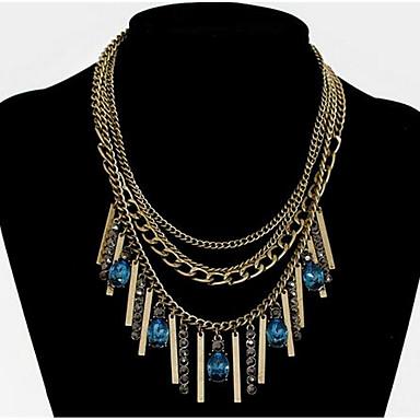 Damskie Naszyjniki z wisiorkami Syntetyczny Sapphire Syntetyczne kamienie szlachetne Natura Modny euroamerykańskiej Biżuteria Na Ślub