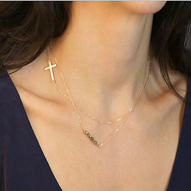 للمرأة Line Shape أسلوب بسيط قلادات السلسلة مجوهرات كروم قلادات السلسلة ، هدية يوميا فضفاض