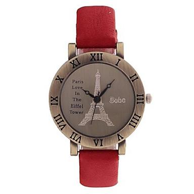 Dames Modieus horloge Kwarts PU Band Zwart Rood Groen