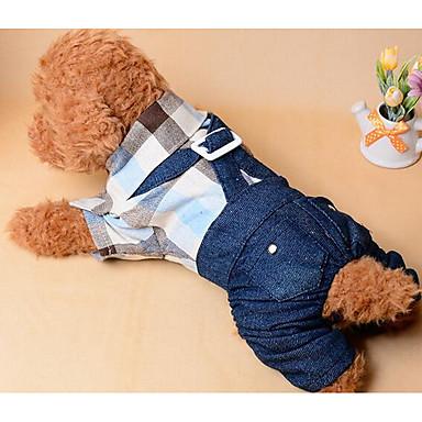 Hund Overall Hundekleidung Plaid / Karomuster Dunkelblau Baumwolle Kostüm Für Haustiere Sommer Herrn Damen Lässig / Alltäglich Modisch