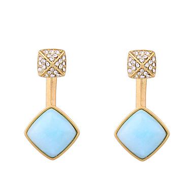 Vidali Küpeler Eşsiz Tasarım Moda Kişiselleştirilmiş Square Shape Açık Mavi Mücevher Için Düğün Parti 1 çift