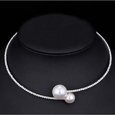 Kadın's Gerdanlıklar İnci Kübik Zirconia Kübik Zirconia Basic Tasarım Beyaz Mücevher Için Düğün Özel Anlar Nişan Günlük 1 adet