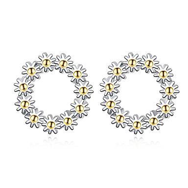 Kadın's Vidali Küpeler Kübik Zirconia Çiçek Çiçek Stili Çiçekler Som Gümüş Çiçek Mücevher Düğün Parti Günlük