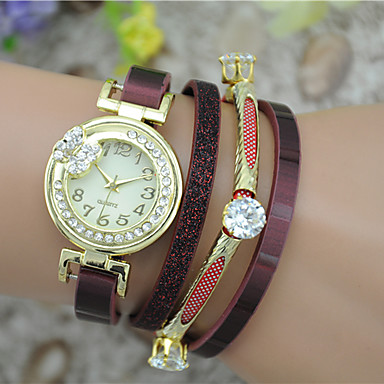 Damen Modeuhr Armband-Uhr Quartz Mehrfarbig Leder Band Armreif Schwarz Weiß Blau Rot Rosa