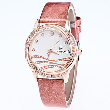 Damen Armbanduhr Modeuhr Quartz Strass Leder Band Freizeit Schwarz Weiß Blau Rot Gold Rosa Lila Rose