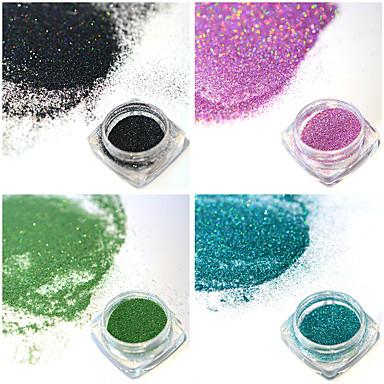 4 sticle / set 0.2g / flacon de moda colorat strălucitor diy farmec pigment unghii art cu laser sclipici holografic fină praf superb