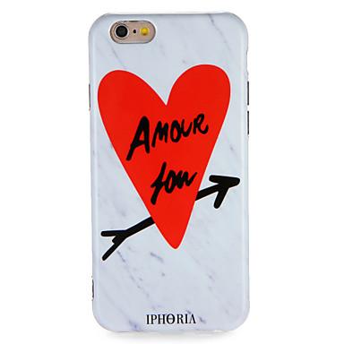 Pentru Carcase Huse IMD Model Carcasă Spate Maska Cuvânt / expresie Inimă Marmură Moale TPU pentru AppleiPhone 7 Plus iPhone 7 iPhone 6s