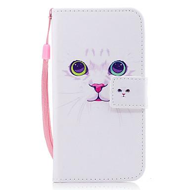 hoesje Voor Samsung Galaxy J7 (2016) J5 (2016) Kaarthouder Portemonnee met standaard Flip Magnetisch Patroon Volledig hoesje Kat Hard