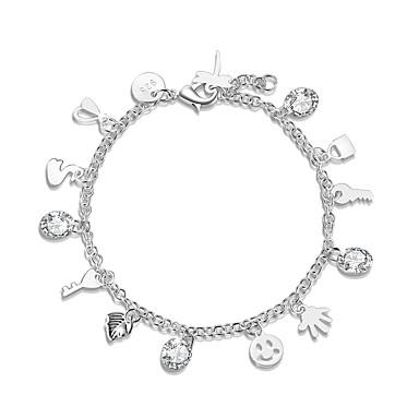 للمرأة أساور السلسلة والوصلة أساور ساحرة مجوهرات الصداقة موضة تصفيح بطلاء الفضة Circle Shape Geometric Shape مجوهرات حفلة/سهرة الغير