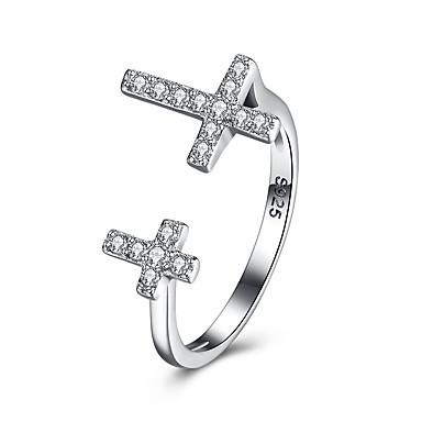 Dames Ring Zilver Sterling zilver Zirkonia Platina Verguld Uniek ontwerp Kruiselings Verjaardag liiketoiminta Lahja Dagelijks Toimisto &