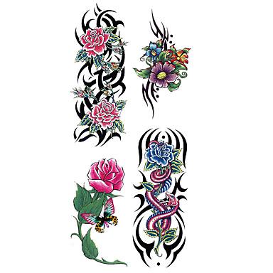 ملصقات الوشم سلسلة الزهور نموذج الظهر السفلي Waterproofنساء رجال في سن المراهقة فلاش الوشم الوشم المؤقت