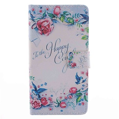 Voor Samsung Galaxy Note 4 Case Cover Kaarthouder Portemonnee Met Stand Flip Pattern Full Body Case Woord / Fragment Flower Hard Pu