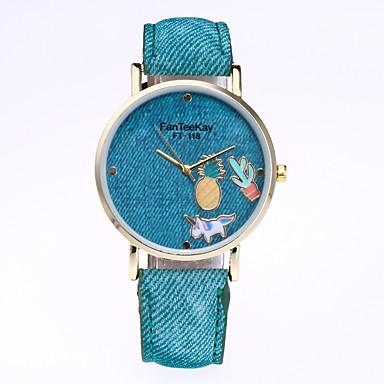 Dames Modieus horloge Kwarts Leer Band Informeel Zwart Wit Blauw Rood Bruin Groen Geel