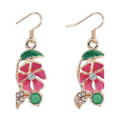 Pentru femei Diamant sintetic Floral / Lux / Boem Boem Cercei Stud / Cercei Picătură / Cercei Rotunzi  Ștras Floare Mov / Galben / Fucsia