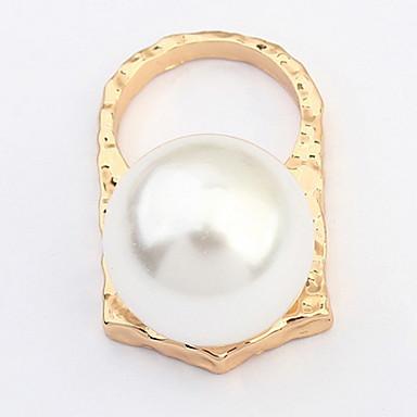 Herrn Damen Ring Imitierte Perlen Personalisiert Einzigartiges Design Logo Stil Klassisch Retro Böhmische Grundlegend Euramerican Zum