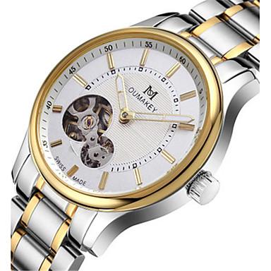 Heren Modieus horloge mechanische horloges Kwarts Automatisch opwindmechanisme Kalender Waterbestendig Legering Band Zilver