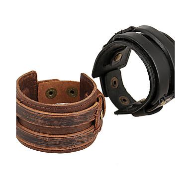 Heren Dames Leder Lederen armbanden - Natuur Modieus epäsäännöllinen Zwart Bruin Armbanden Voor Speciale gelegenheden  Lahja Sport