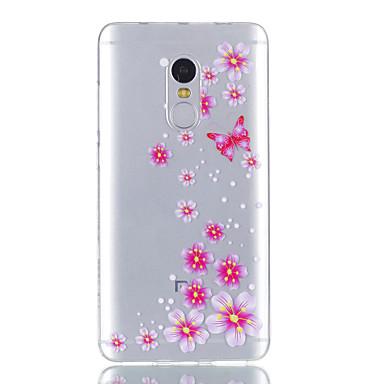 hoesje Voor Xiaomi Transparant Patroon Achterkantje Vlinder Bloem Zacht TPU voor Xiaomi Redmi Note 4