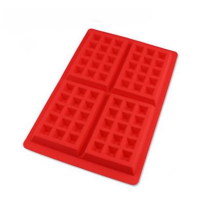 1 stuk 4-gaats vierkante mal voor chocolade voor koekje siliconen verjaardag
