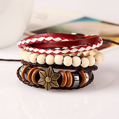 Heren Dames Leder Lederen armbanden - Modieus Geometrische vorm Regenboog Armbanden Voor Bruiloft Feest Sport