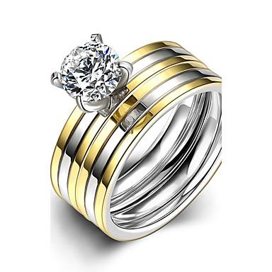 Dames Verlovingsring Ring Bandring Bruids Modieus Eenvoudige Stijl Titanium Staal Rond Kostuum juwelen Kerstcadeaus Bruiloft Feest