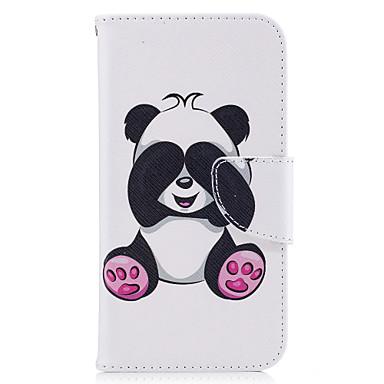 Pentru Carcase Huse Portofel Titluar Card Cu Stand Întoarce Model Magnetic Corp Plin Maska Panda Greu PU Piele pentru Samsung J3 J3 (2016)