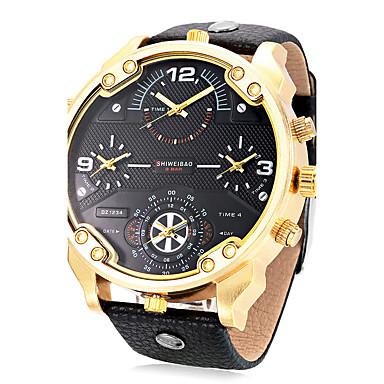 Heren Volwassenen Unieke creatieve horloge Sporthorloge Modieus horloge Polshorloge Chinees Kwarts Kalender Waterbestendig Drie tijdzones