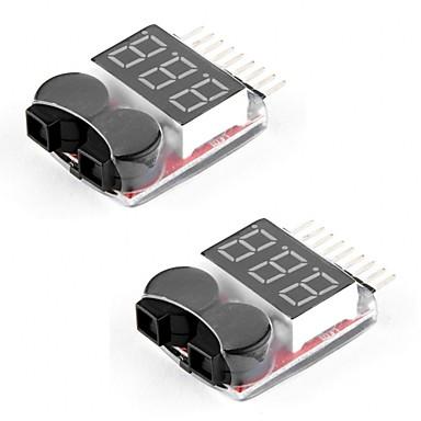 2 packs rc lipo batterij monitor alarm tester checker laagspanning zoemer alarm met led indicator voor 1-8s lipo levenslimiet li-ion