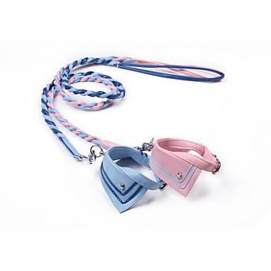Hund Halsbänder Wasserdicht Tragbar Einstellbar Solide PU-Leder Blau Rosa