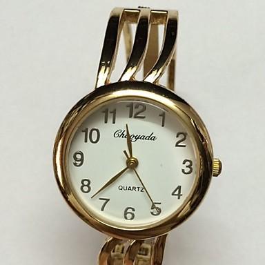 Dames Skeleton horloge Modieus horloge Polshorloge Kwarts Legering Band Glitter Bangle armband Goud