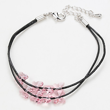 Dames Strand Armbanden Lederen armbanden Sieraden Natuur Vintage Met de hand gemaakt Modieus Kristal Legering Ovalen vorm Sieraden Voor