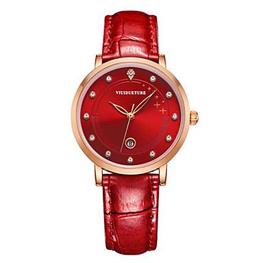 Dames Modieus horloge Kwarts Waterbestendig Drie tijdzones Leer Band Amulet Glitter Zwart Wit Rood