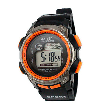 Heren Sporthorloge Digitaal horloge Chinees Digitaal Kalender Waterbestendig Stopwatch Rubber Band Zwart