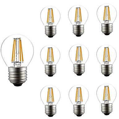10pcs 4W 360lm E26 / E27 LED Filament Bulbs G45 4 LED Beads COB Dimmable Decorative Warm White 220-240V
