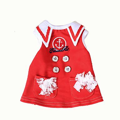 Hond Jurken Hondenkleding Klassiek Casual/Dagelijks Matroos Donkerblauw Rood Kostuum Voor huisdieren