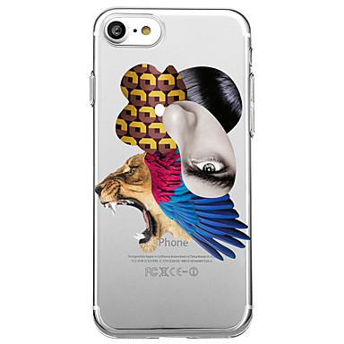 Voor Hoesje cover Transparant Patroon Achterkantje hoesje Sexy dame dier Zacht TPU voor Apple iPhone 7 Plus iPhone 7 iPhone 6s Plus