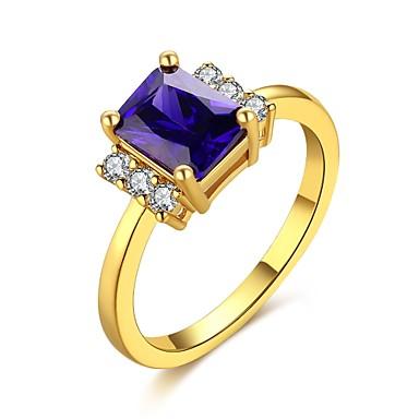 Damen Ring Synthetischer Opal Kubikzirkonia Gold Zirkon Kupfer versilbert vergoldet Aleación Quadratisch Geometrische Form Personalisiert