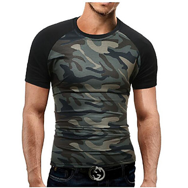 baratos Camiseta de Homen-Homens Tamanhos Grandes Camiseta - Esportes Militar Estampado, camuflagem Algodão Decote Redondo Delgado Preto XL / Manga Curta / Verão