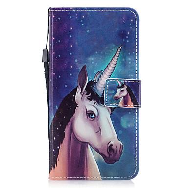Für Apfel iphone 7 7 plus 6s 6 plus se 5s 5 Fallabdeckung Einhornmuster gemaltes PU-Hautmaterialkarte Stentmappentelefonkasten