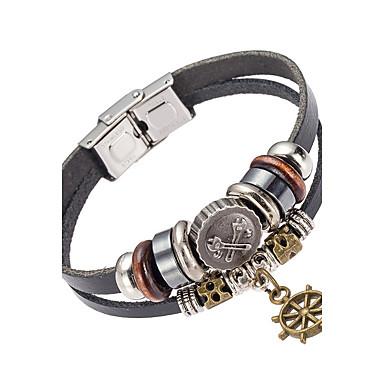 للرجال أساور من الجلد مجوهرات الطبيعة موضة جلد سبيكة غير منتظم مجوهرات مناسبة خاصة هدية الرياضة مجوهرات أسود