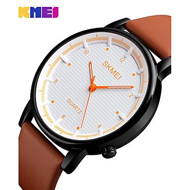 SKMEI Heren Dress horloge Modieus horloge Japans Kwarts Waterbestendig Echt leer Band Amulet Informeel Cool Zwart Bruin
