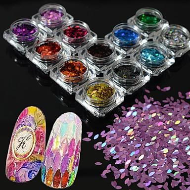 13bochete / set de noi moda fermecătoare de curcubeu paiete diy grațios lucios felie de decorare unghii de arta sclipici cal ochi