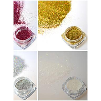 4bottles / set 0.2g / flacon moda colorat strălucitor unghii arta laser sclipici holografică fină pulbere diy farmec pigment superba