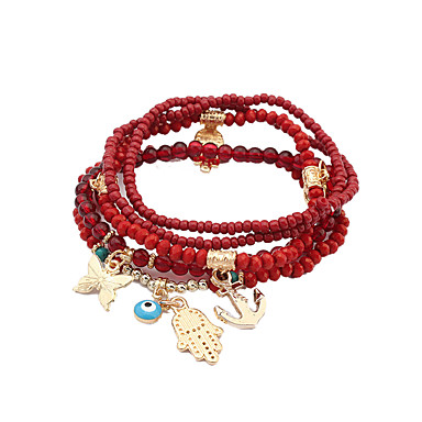 Dames Luxe Bedelarmbanden - Luxe Tatoeagestijl Natuur Turks Doe-het-zelf Modieus Cirkelvorm Geometrische vorm Wit Zwart Rood Groen